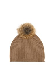 Max Mara Cashmere And Wool Blend Beanie Hat Camel