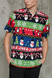 Forever 21 Jingle Graphic Holiday Shirt Blue Multi