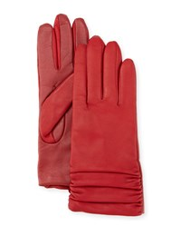 Ugg Ruched Leather Tech Gloves Cherry