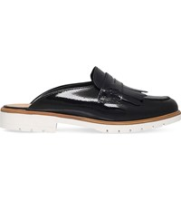 Kg By Kurt Geiger Komit Backless Patent Leather Loafers Black