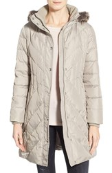 London Fog Petite Women's Down And Feather Fill Coat With Faux Fur Trim Pearl
