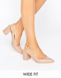 New Look Wide Fit Patent Slingback Block Heel Cream