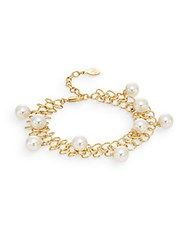 Majorica 8Mm White Round Pearl And 18K Yellow Gold Vermeil Chain Link Bracelet