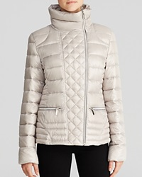 Laundry By Shelli Segal Jacket Quilted Asymmetric Moto Lightweight Pewter