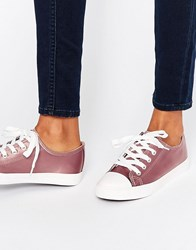 New Look Satin Lace Up Trainer Mauve Beige