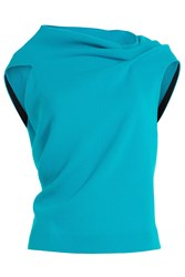 Roland Mouret Wool Crepe Top With Open Back Turquoise