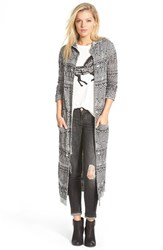 Junior Women's Sun And Shadow Hooded Long Cardigan Black Orion Jacquard