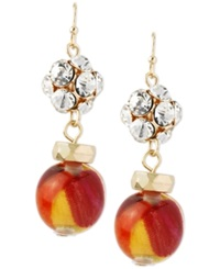 Macy's Haskell Gold Tone Multi Colored Bead And Fireball Drop Earrings