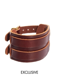 Reclaimed Vintage Double Buckle Leather Cuff Bracelet Brown