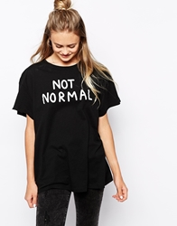 Lazy Oaf Slob T Shirt With Not Normal Print Black