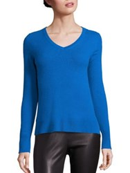 Saks Fifth Avenue Cashmere V Neck Sweater Light Pink Light Grey Bright Blue White Black Yell