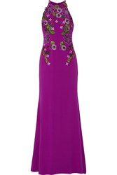 Badgley Mischka Floral Appliqued Crepe Gown Purple