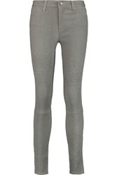 J Brand Leather Skinny Pants Gray