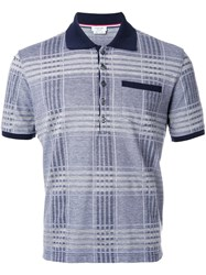Thom Browne Plaid Short Sleeved Polo Shirt Blue