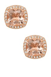 Rose Gold Plated Silver Cushion Cut Morganite Quartz And White Sapphire Halo Stud Earrings Pink