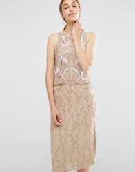Frock And Frill Embroidered Beaded 2 In 1 Pencil Dress Nude Pink