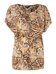 Biba Hidden Tigher Print T Shirt Multi Coloured