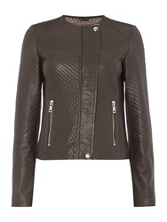 Oui Leather Quilted Jacket Brown