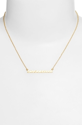 Argentovivo Hammered Bar Pendant Necklace Gold