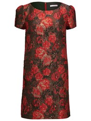 Gina Bacconi Matelasse Metallic Jacquard Dress Red Black