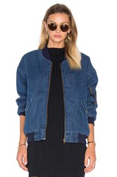 J.O.A. Front Pocket Bomber Jacket With Faux Sherpa Lining Denim