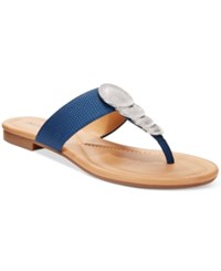 Alfani Harlquin Flat Thong Sandals Only At Macy's Women's Shoes Violet Blue Lizard