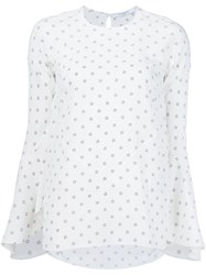 Givenchy Star Bell Sleeve Blouse White