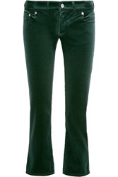 Maison Martin Margiela Cropped Velvet Slim Leg Pants Forest Green