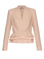 Alexander Mcqueen Peplum Hem Wool And Silk Blend Jacket Pink