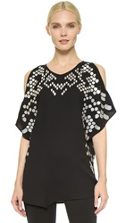 Jay Ahr Cutout Shoulder Top Black