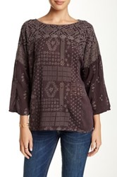Johnny Was 3 4 Sleeve Embroidered Eyelet Blouse Brown