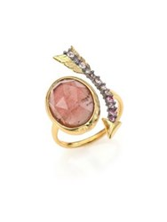 Alexis Bittar Elements Encrusted Arrow Crystal Pink Tourmaline And Labradorite Ring Gold Brown