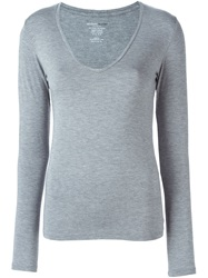 Majestic Filatures V Neck Sweater Grey