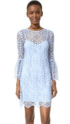 Cynthia Rowley Floral Mosaic Long Sleeve Dress Slate Blue