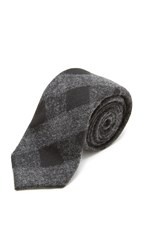 Alexander Olch The Tuxedo Wool Gingham Tie Black Charcoal