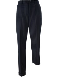 Jacquemus Striped Asymmetric Trousers Blue