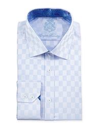 English Laundry Solid Tonal Check Woven Dress Shirt Blue