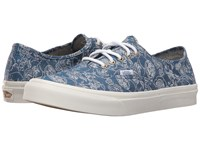 Vans Authentic Slim Chambray Retro Floral Blue Athletic Shoes
