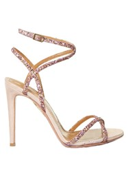 Aquazzura Leila Glitter And Suede Sandals Pink