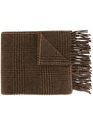 Polo Ralph Lauren Checked Knit Scarf Brown