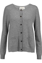 Clu Lace And Cotton Canvas Trimmed Wool And Cashmere Blend Cardigan Gray