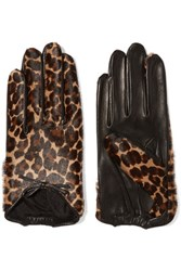Agnelle Leopard Print Calf Hair And Leather Gloves Dark Denim