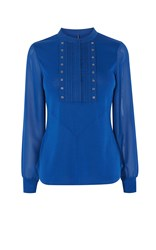 Karen Millen Sleeve Studded Shirt Green