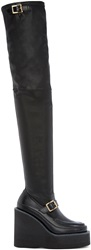 Sacai Black Leather Thigh High Wedge Boots