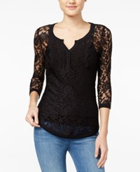 Almost Famous Juniors' Sheer Lace Henley Top Black