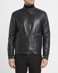 Armani Collezioni Black Leather Biker Collar Press Studs And Zip Pockets Jacket