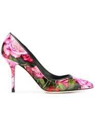 Dolce And Gabbana Peony Print Pumps Black