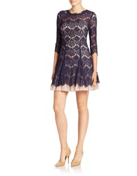 Betsy And Adam Lace Topped Fit Flare Dress Navy Nude