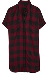 Madewell Plaid Voile Shirt Dress Burgundy