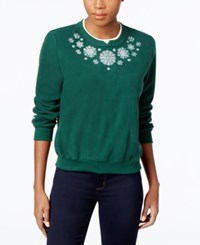 Alfred Dunner Petite Holiday Classics Dog Graphic Sweater Hunter